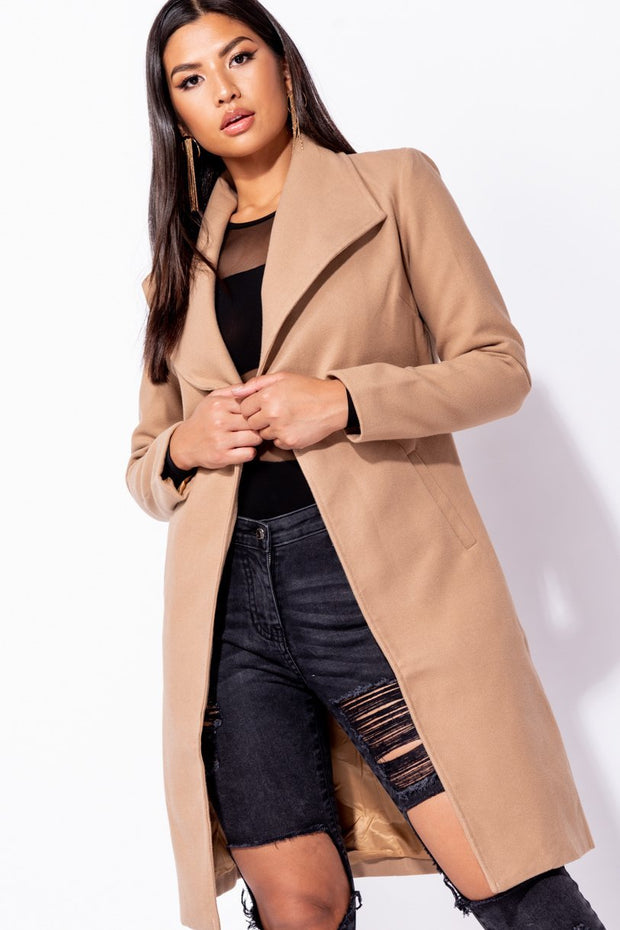 Image: Camel Longline Duster Coat - Parisian-uk