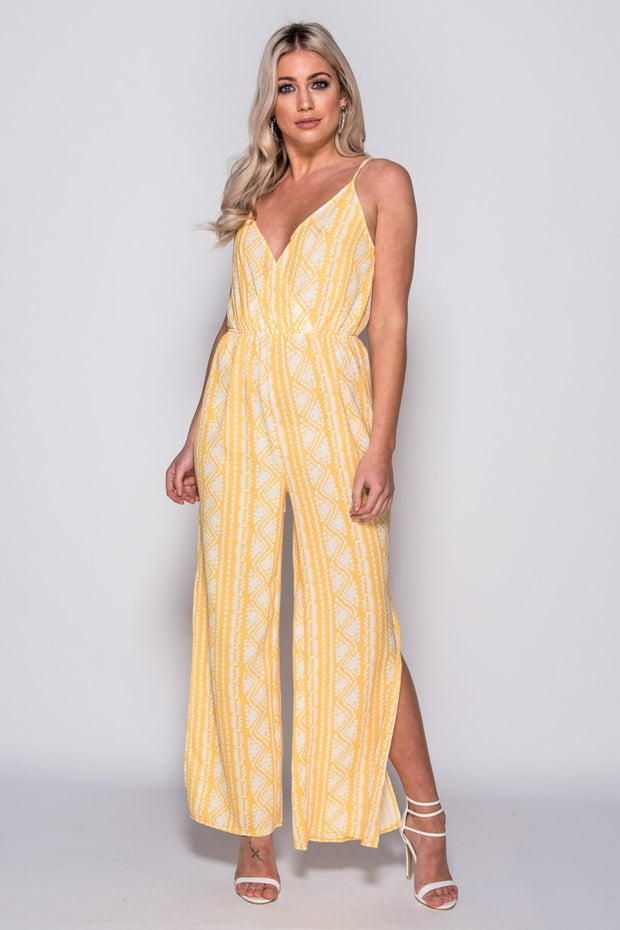 Image: Yellow Side Slit Sleeveless Jumpsuit