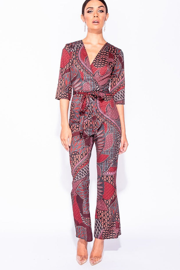 Image: Wine Multi Print Wrapover Front Belted Jumpsuit