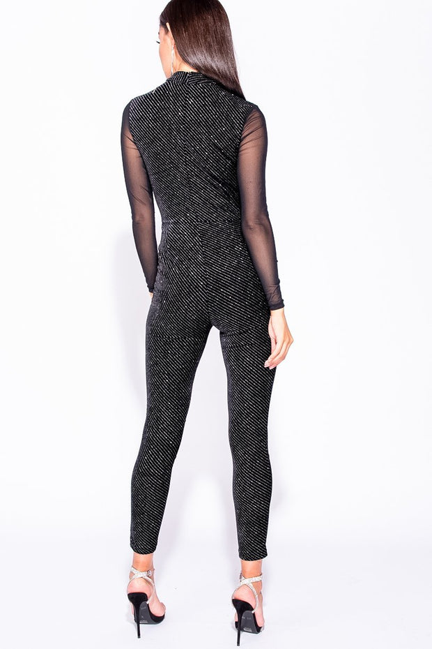 Image: Black Metallic Velvet Mesh Sleeve High Neck Jumpsuit - Parisian-uk