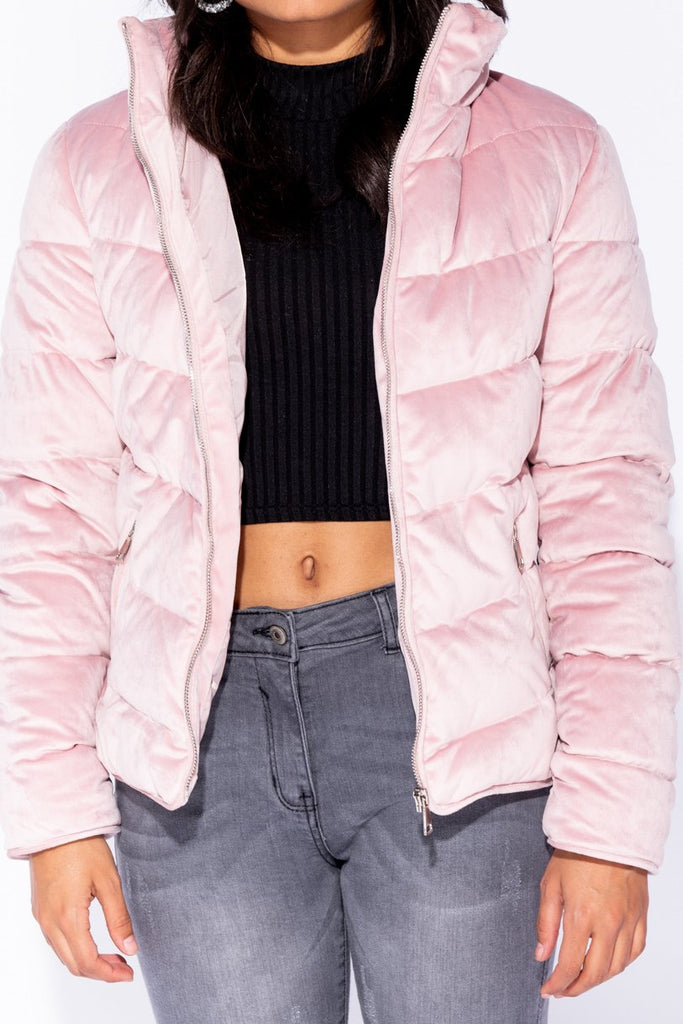 Pink Velvet Quilted Puffer Jacket