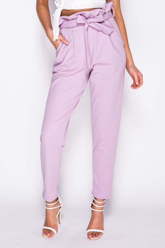 Image: Lilac Paperbag Waist Belted Crop Trousers - Parisian-uk