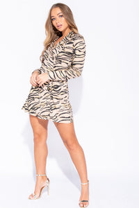 Gold Tiger Print Double Breasted Blazer Dress - Parisian-uk