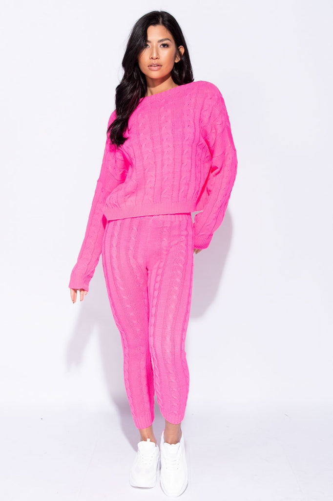 Image: Neon Pink Cable Knit Legging & Jumper Loungewear Set