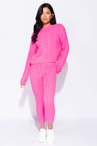 Neon Pink Cable Knit Legging & Jumper Loungewear Set
