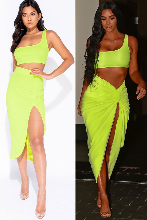 Image: Neon Green One Shoulder Ruched Detail Kim  K Inspired Co-Ord Set
