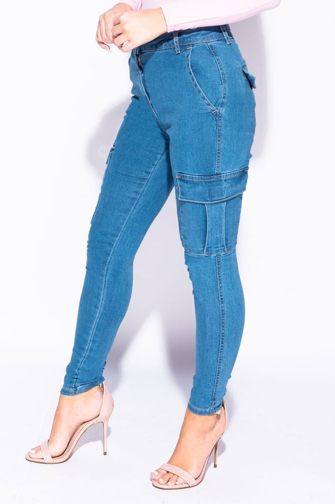 Image: Mid Blue Cargo Pocket Mid Rise Skinny Jeans