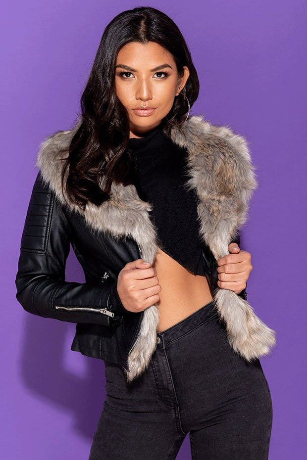 Image: Black Pu Biker Jacket With Faux Fur Collar - Parisian-uk
