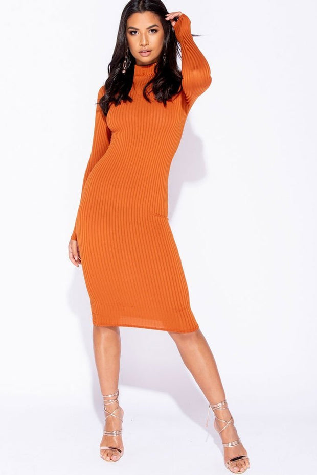 Image: Rust  Skinny Rib Knit High Neck Midi Dress