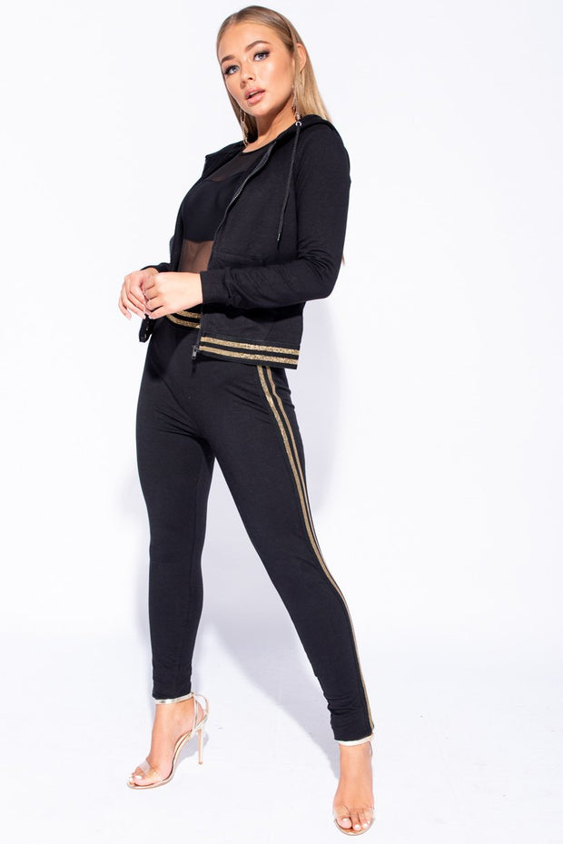Image: Black Gold Metallic Stripe Trim Hooded Loungewear Set
