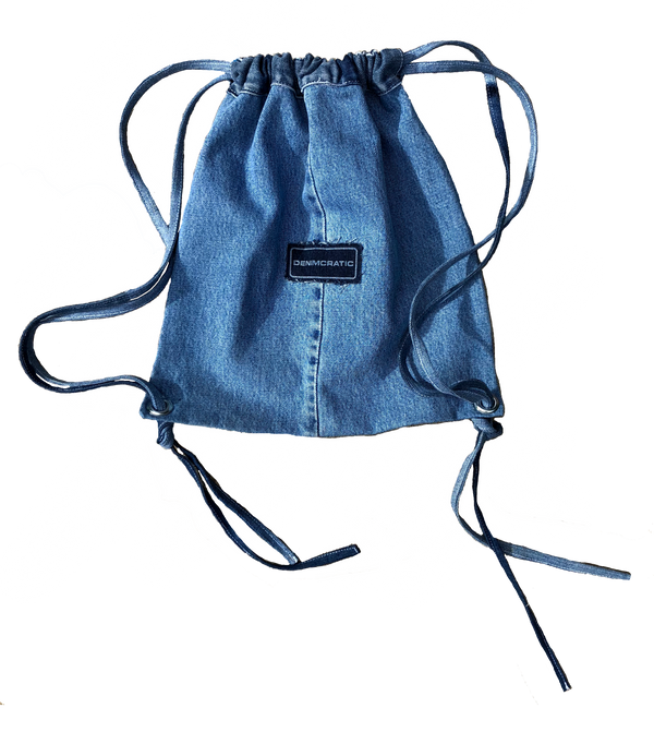 THE DENIM DRAWSTRING BAG