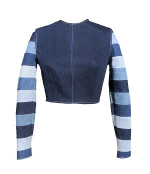 THE STRIPED SLEEVE DENIM SHIRT