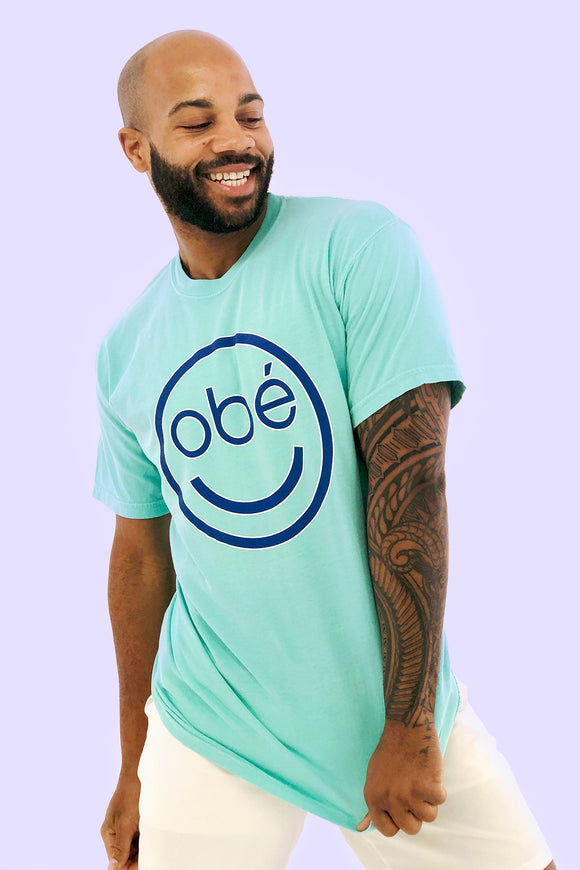 obé smiley tee, blue