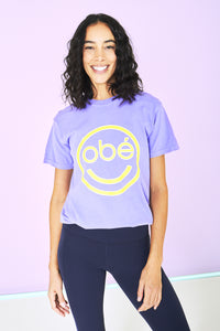 obé smiley tee, purple