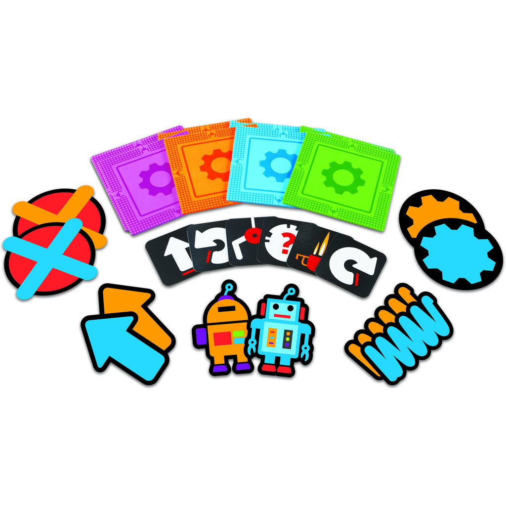 Colorful kit includes:      20 foam mats in four colors (pink, orange, blue and green),     20 coding cards,     Two robot pieces,     Two gear-themed pieces,     Two spring-looking pieces,     Two arrows,     Two X pieces,     Full-colour guide features sample paths.