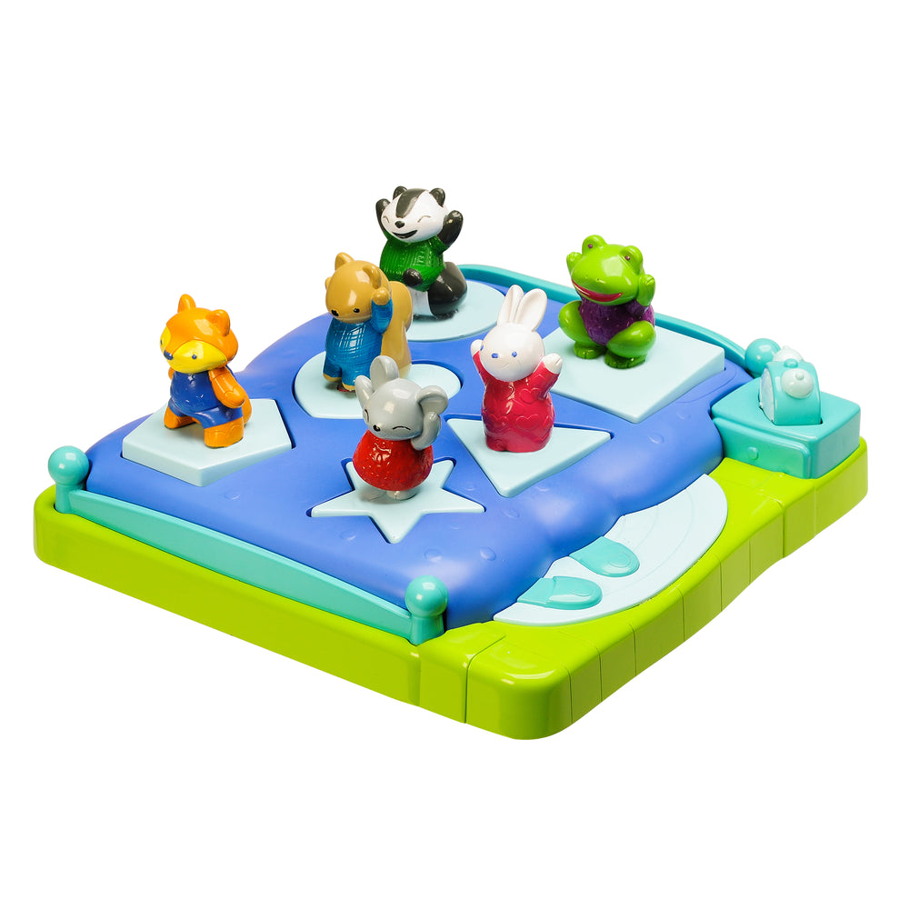 Sort the forest friends into their beds by matching the shapes on their bottoms to the shapes on the bed bases, then press the button to make them pop!