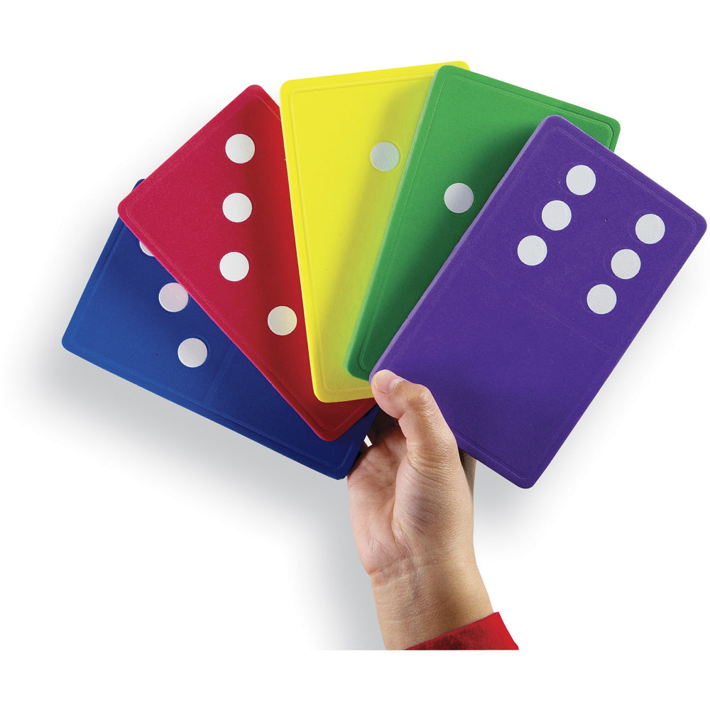 Set of double-six dominoes comes in six bright colors. Activity Guide included.
