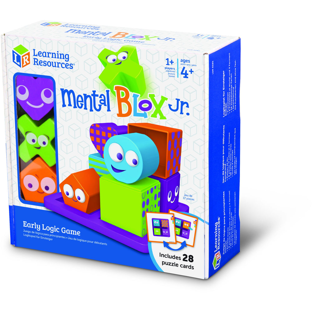 Includes: Puzzle tray, 8 puzzle pieces (4 cubes, 4 shapes), 28 double-sided puzzle cards, and activity guide.