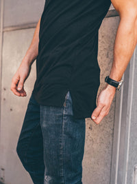 Split Hem Longline Black Crew Neck (Slim Fit)