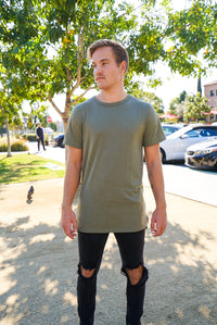 Split Hem Longline Military Crew Neck