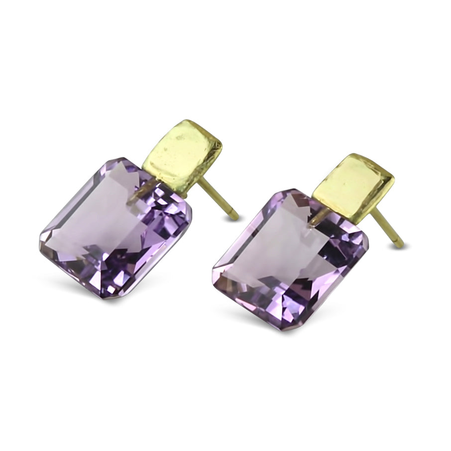 Square Amethyst Studs
