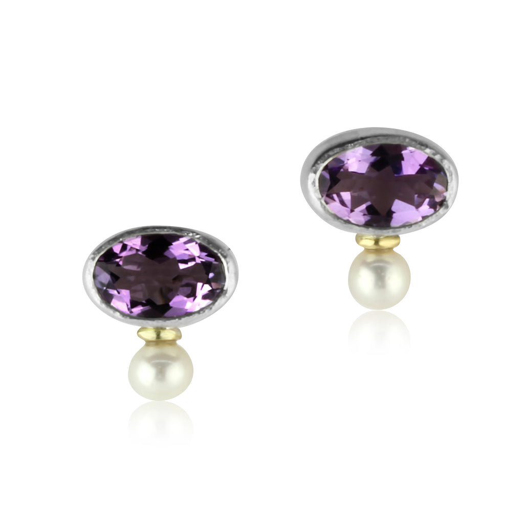 Amethyst and Pearl Studs