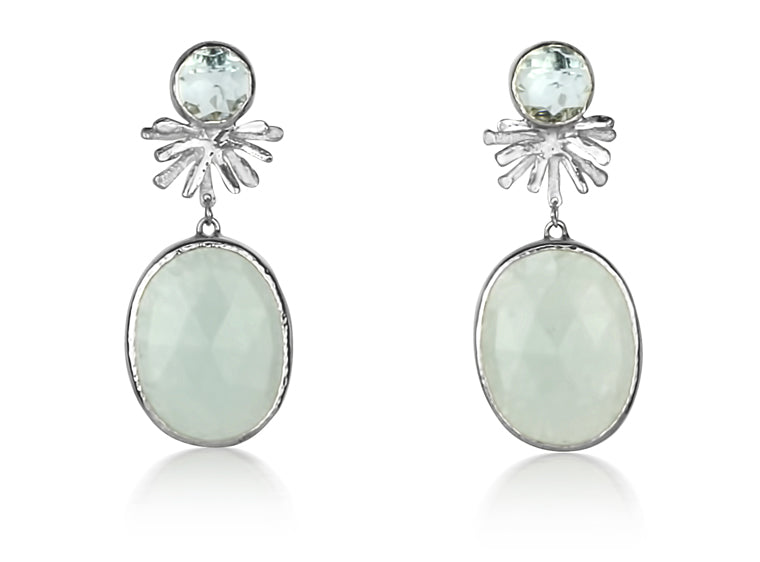 Aqua Quartz and Topaz Burst Drops
