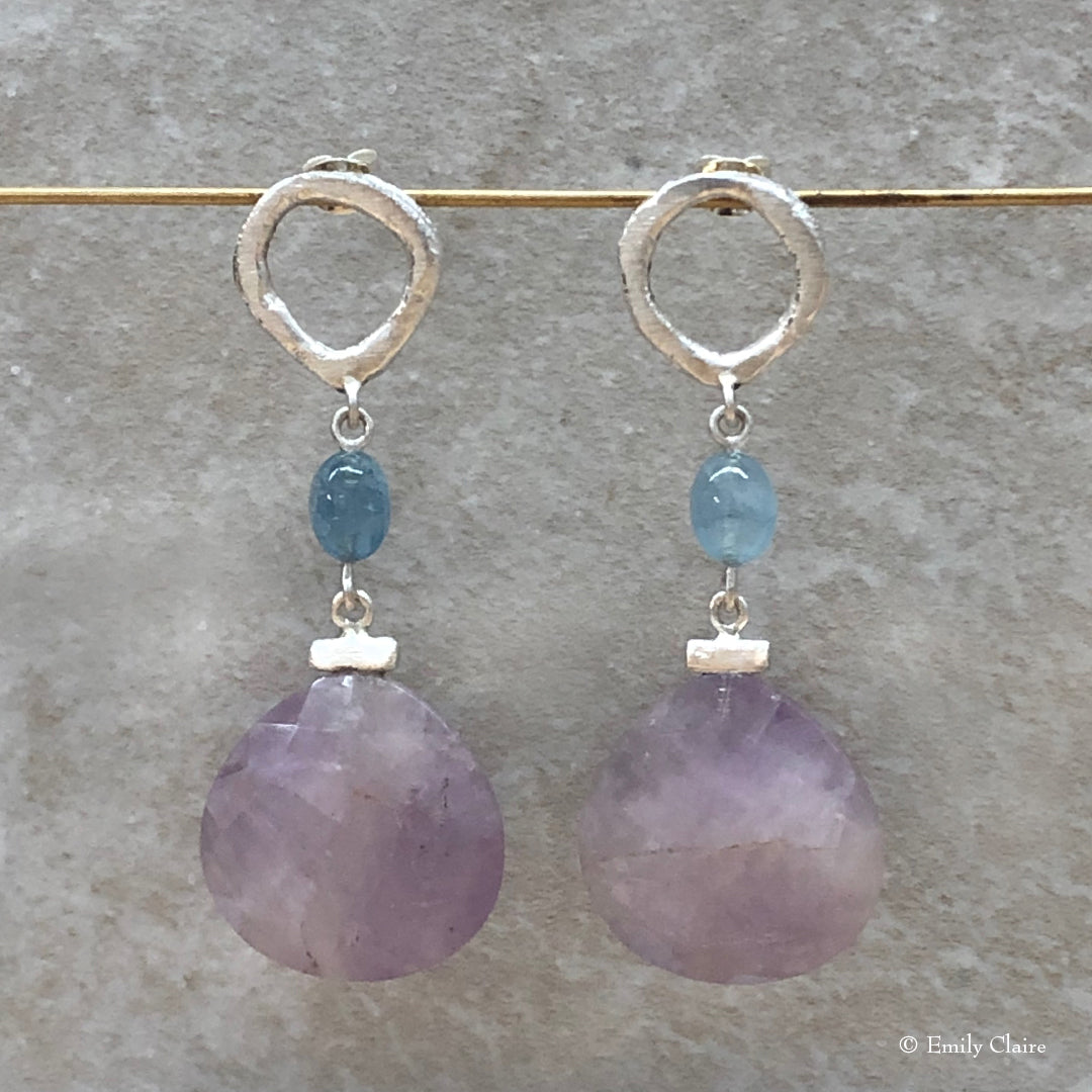 Cape Amethyst and Aquamarine Infinity Earrings