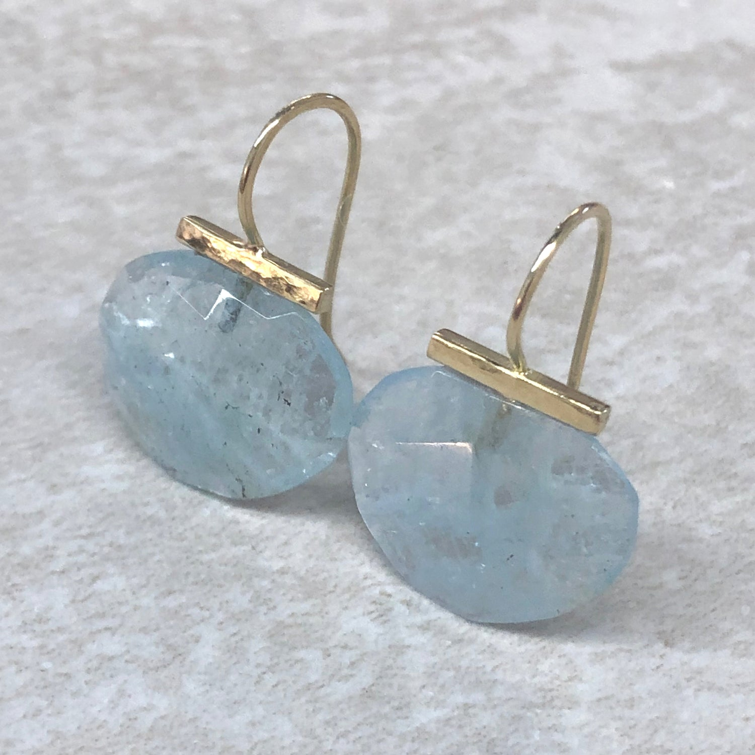 Aquamarine Hammered Bar Drops