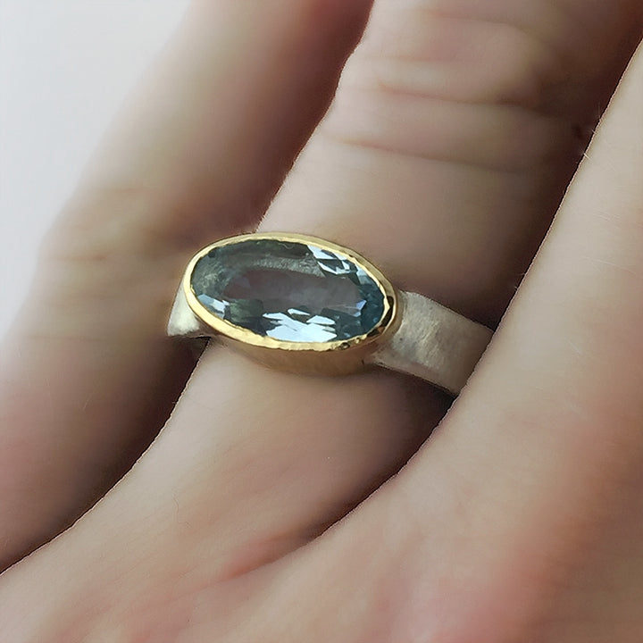 Gold and Silver Aquamarine Flow Ring