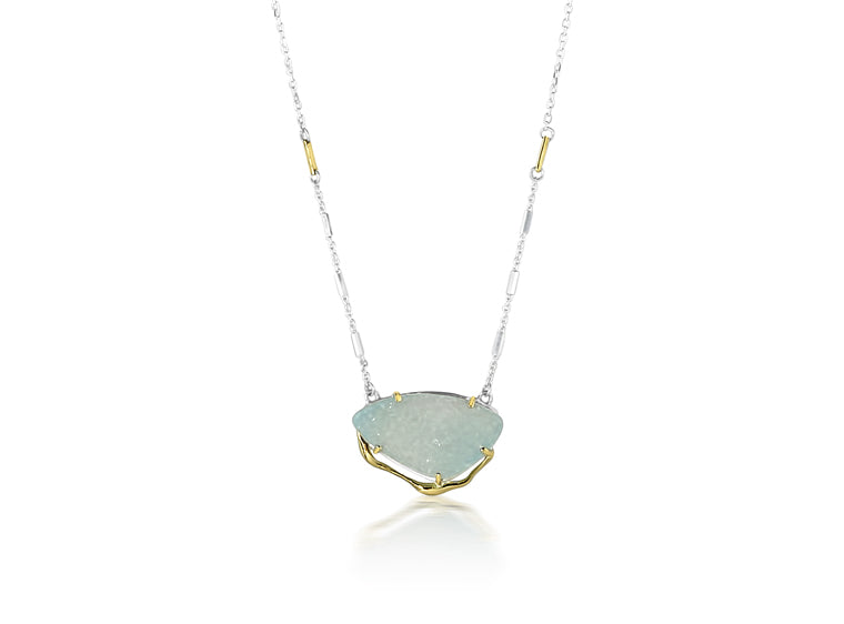 Silver and Gold Blue Druzy Necklace