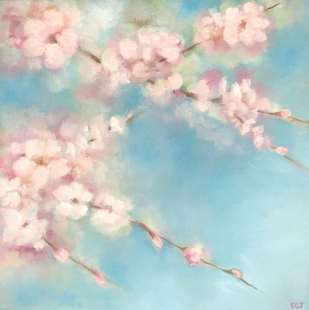 "Blue Sky Pink Blossoms, 12""x12"""