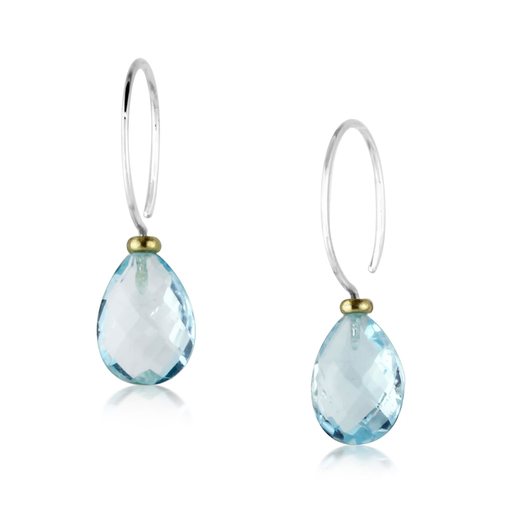 Blue Topaz Teardrop Hoops