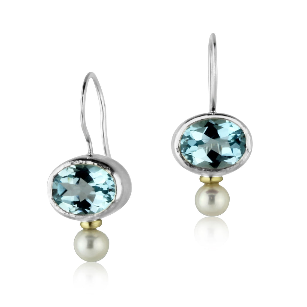 Blue Topaz and Pearl Drops