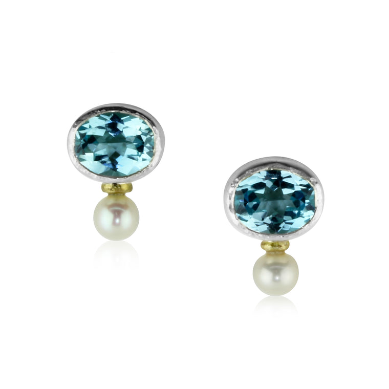 Blue Topaz and Pearl Studs