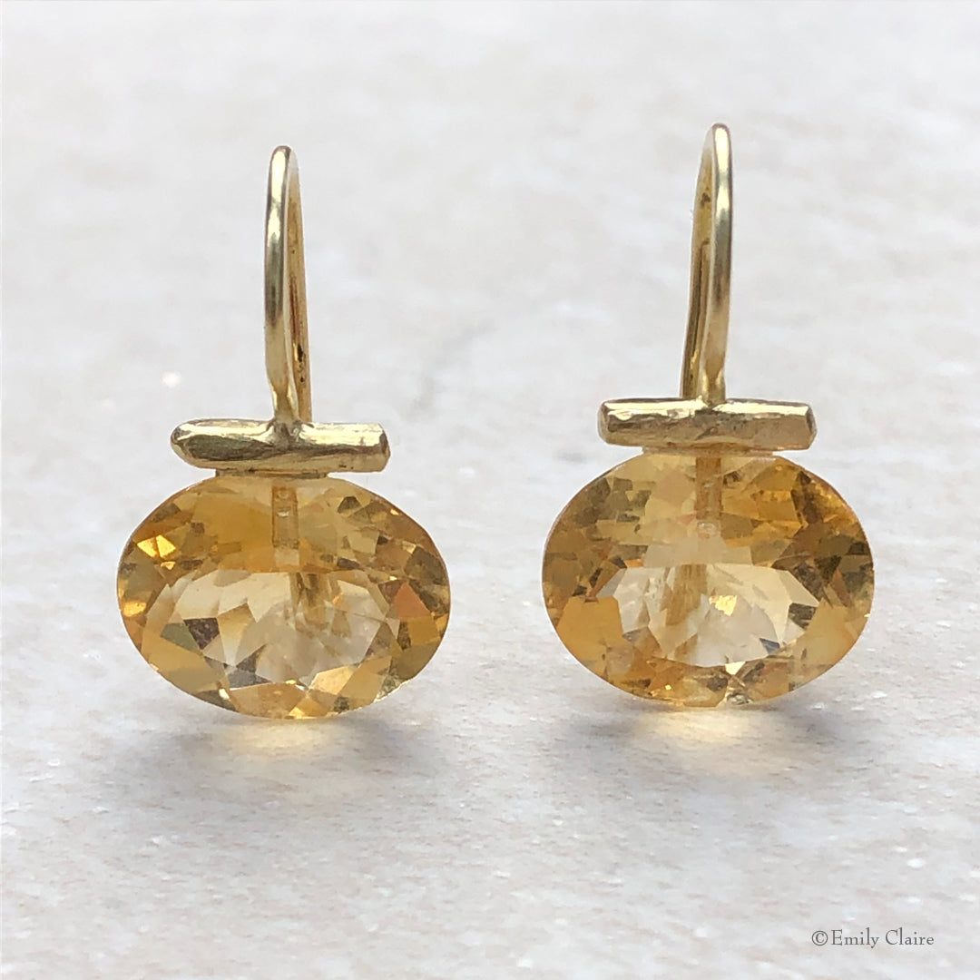 Gold Citrine Bar Drops