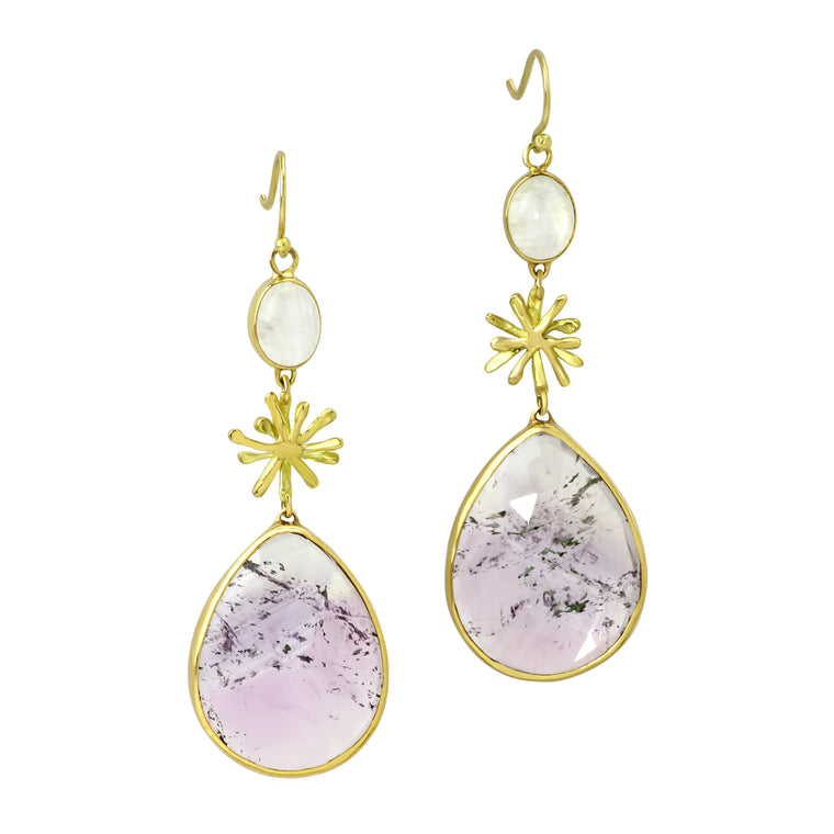 Amethyst and Moonstone Burst Drops