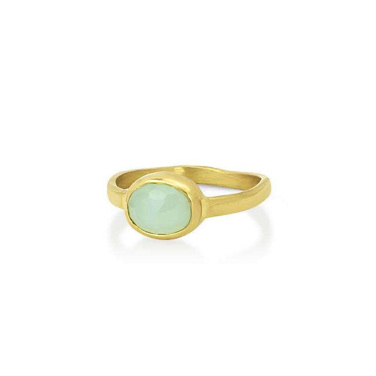Gold Chrysoprase Ring