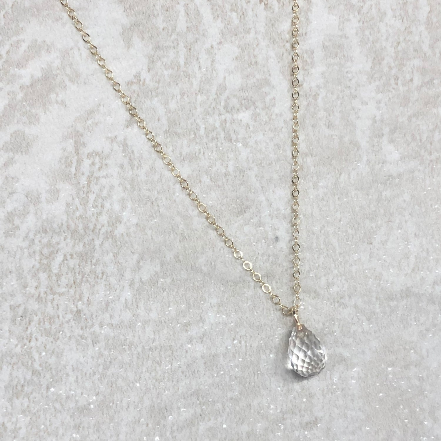 Dainty Quartz Briolette Necklace