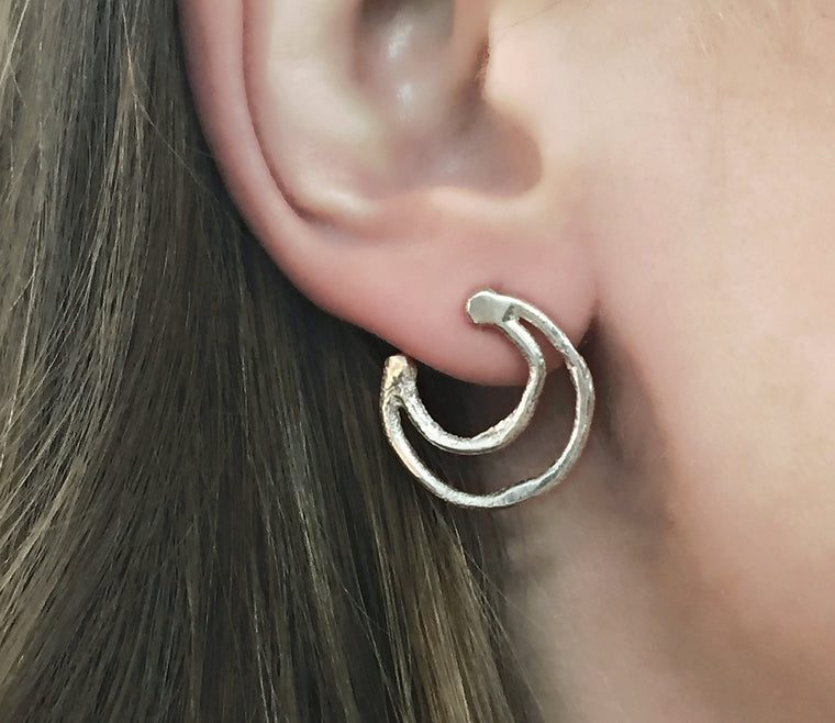 Flow Double Crescent Studs