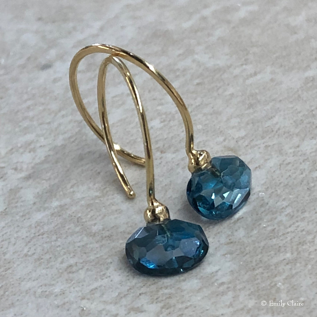 Gold London Blue Topaz Hoops