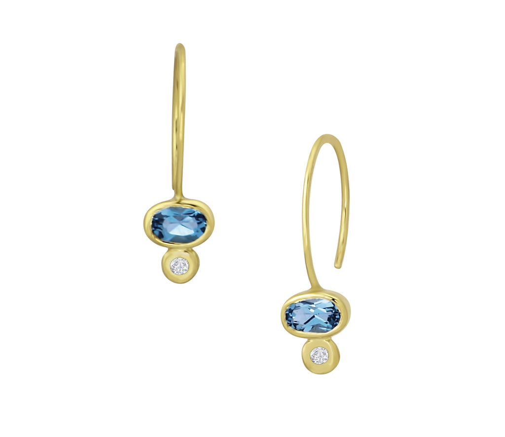 Gold Blue Topaz and Diamond Hoops