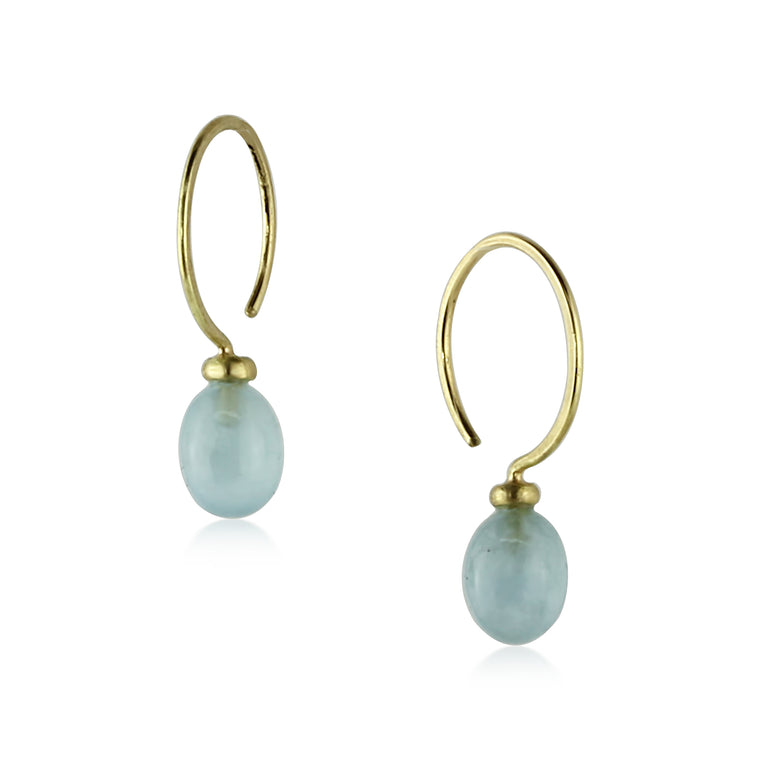 Gold Aquamarine Hoops