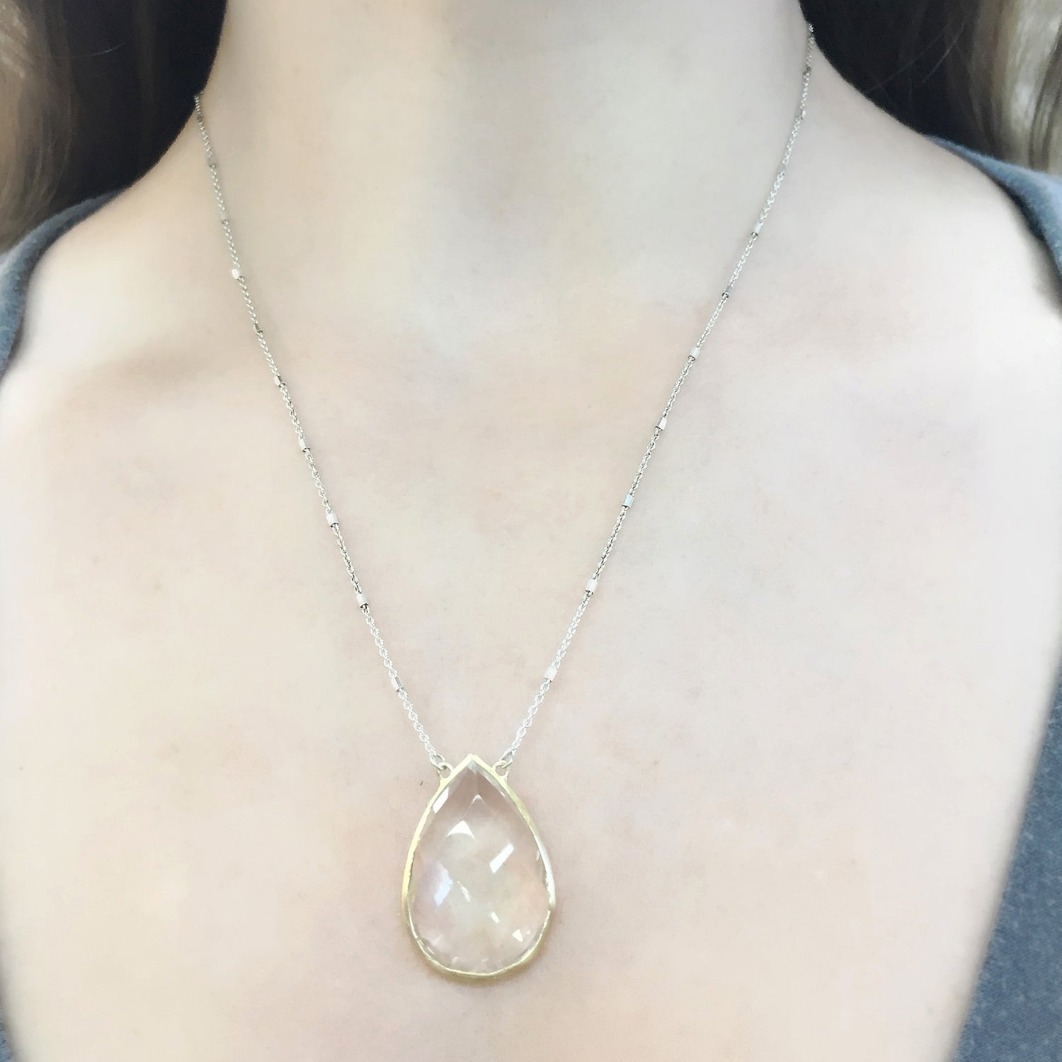 Gold and Silver Crystal Quartz Teardrop Necklace