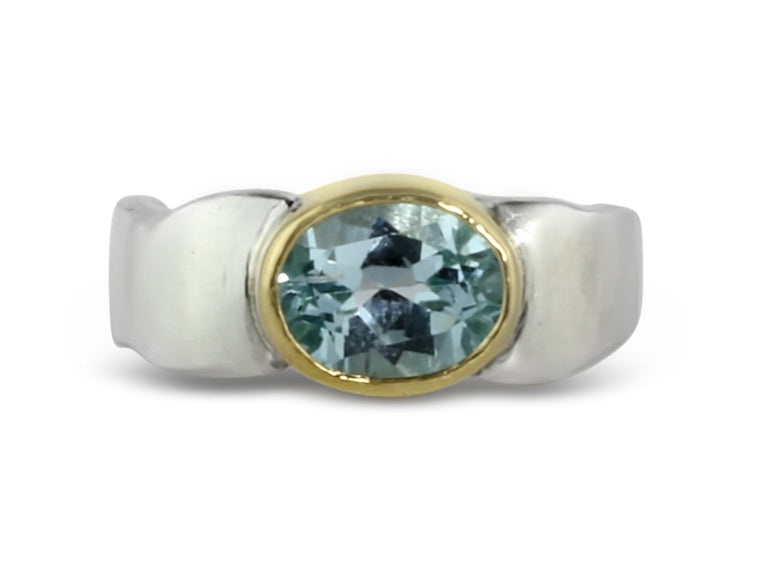 Gold and Silver Topaz Flow Ring