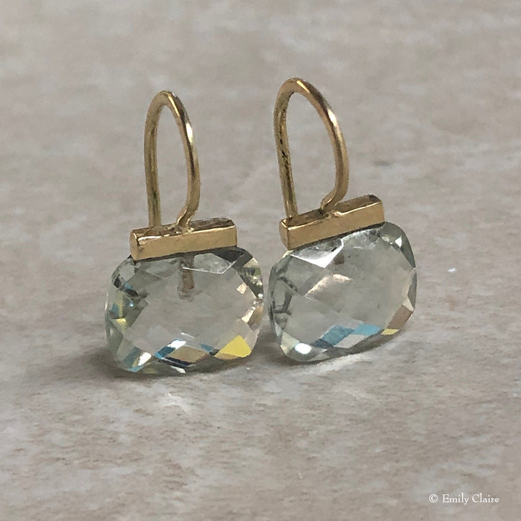 Gold Green Amethyst Cushion Drops
