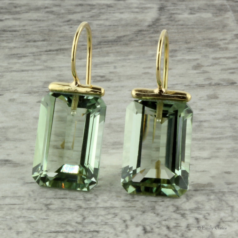 Green Amethyst Rectangle Drops