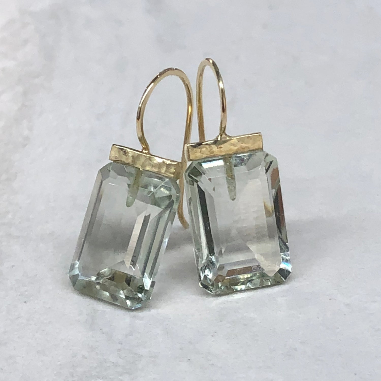 Green Amethyst Hammered Bar Drops