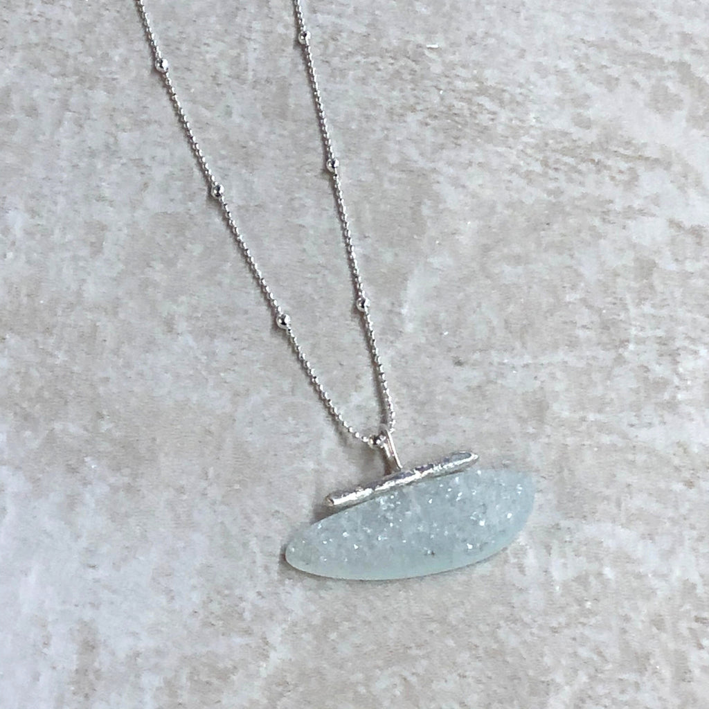 Light Blue Druzy Bar Necklace