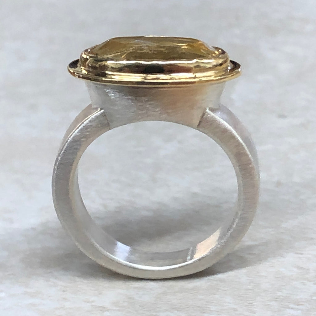 Gold and Silver Citrine Ring